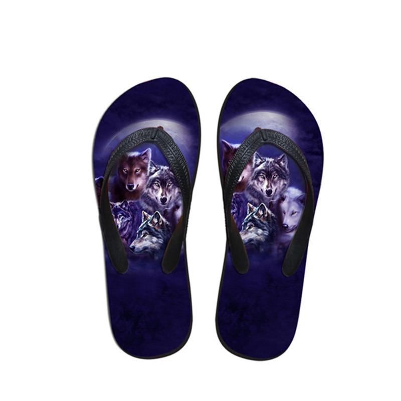 WHEREISTAR Night Roaring Wolf 3D Print Women Flip Flops Summer Flats Sneakers Female Casual Beach Non slip Slippers For Ladies in Flip Flops from Shoes