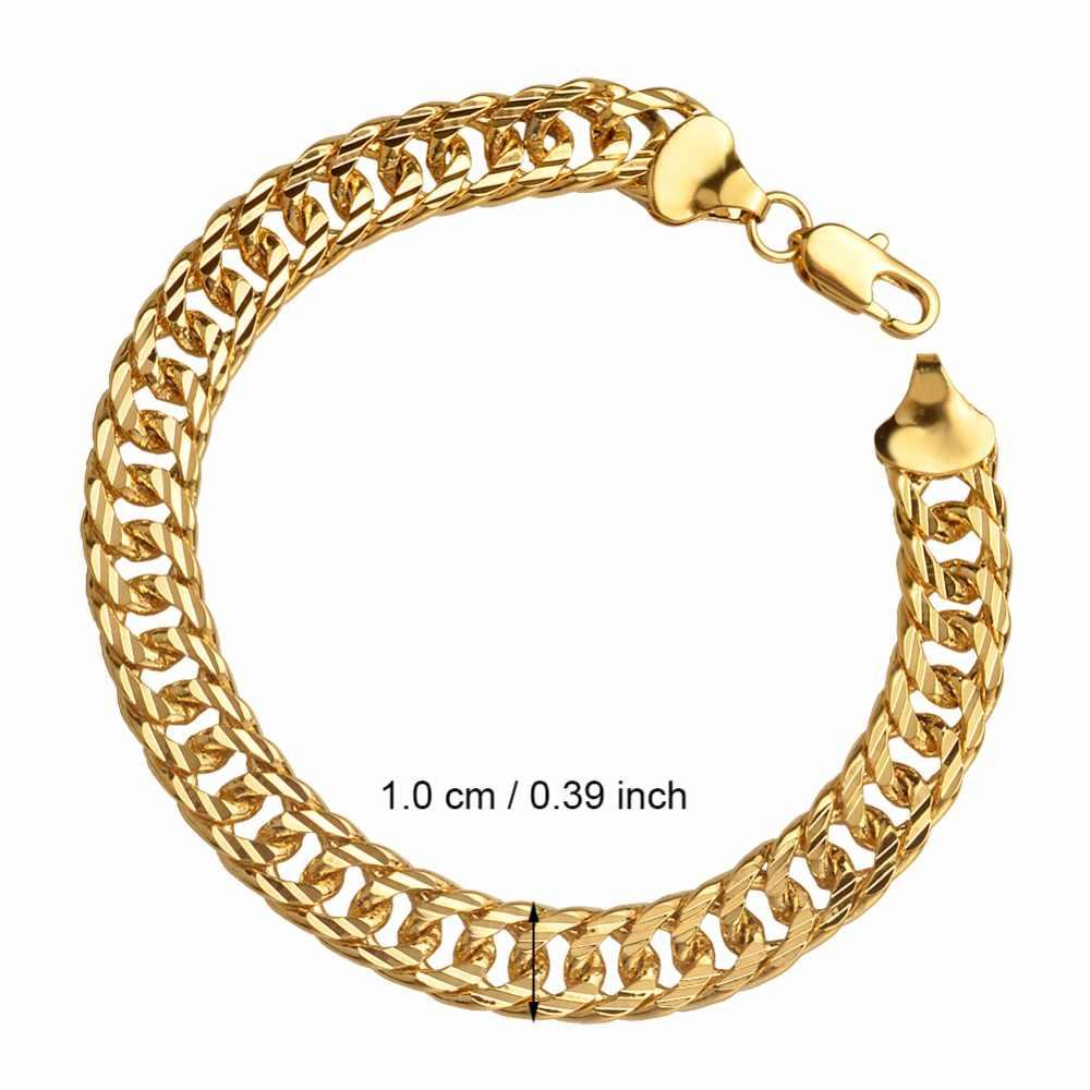 Anniyo szerokość 10mm bransoletki dla mężczyzn złoty kolor gruby Link bransoletka afryki arabski bliski wschód biżuteria ojca prezent #067602