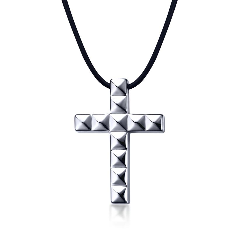 Mens choker necklaces in silver color tungsten carbide cross pendant mens choker necklaces in silver color tungsten carbide cross pendant black rope cord chain necklaces men fashion jewelry in choker necklaces from jewelry aloadofball Image collections