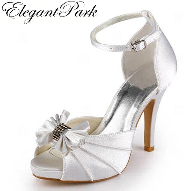 Woman Wedding Shoes High Heels Bridal White P Toe Platform Ankle Strap Satin Lady Bridesmaids Prom