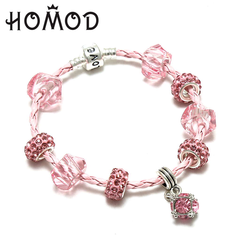 HOMOD Sliver Plated Leather Charm Bracelets For Women With WaterDrop Crystal Beads Pandora Bracelet for Women Jewelry Gift