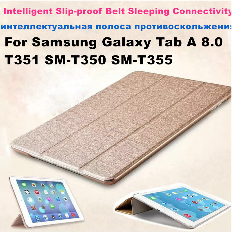 Pu Leather Case Cover Tablet Case For <font><b>Samsung</b></font> Galaxy <font><b>Tab</b></font> <font><b>A</b></font> 8.0 <font><b>T350</b></font> T355 T351 SM-<font><b>T350</b></font> SM-T355 Tri-fold Stand PU Leather Cover image