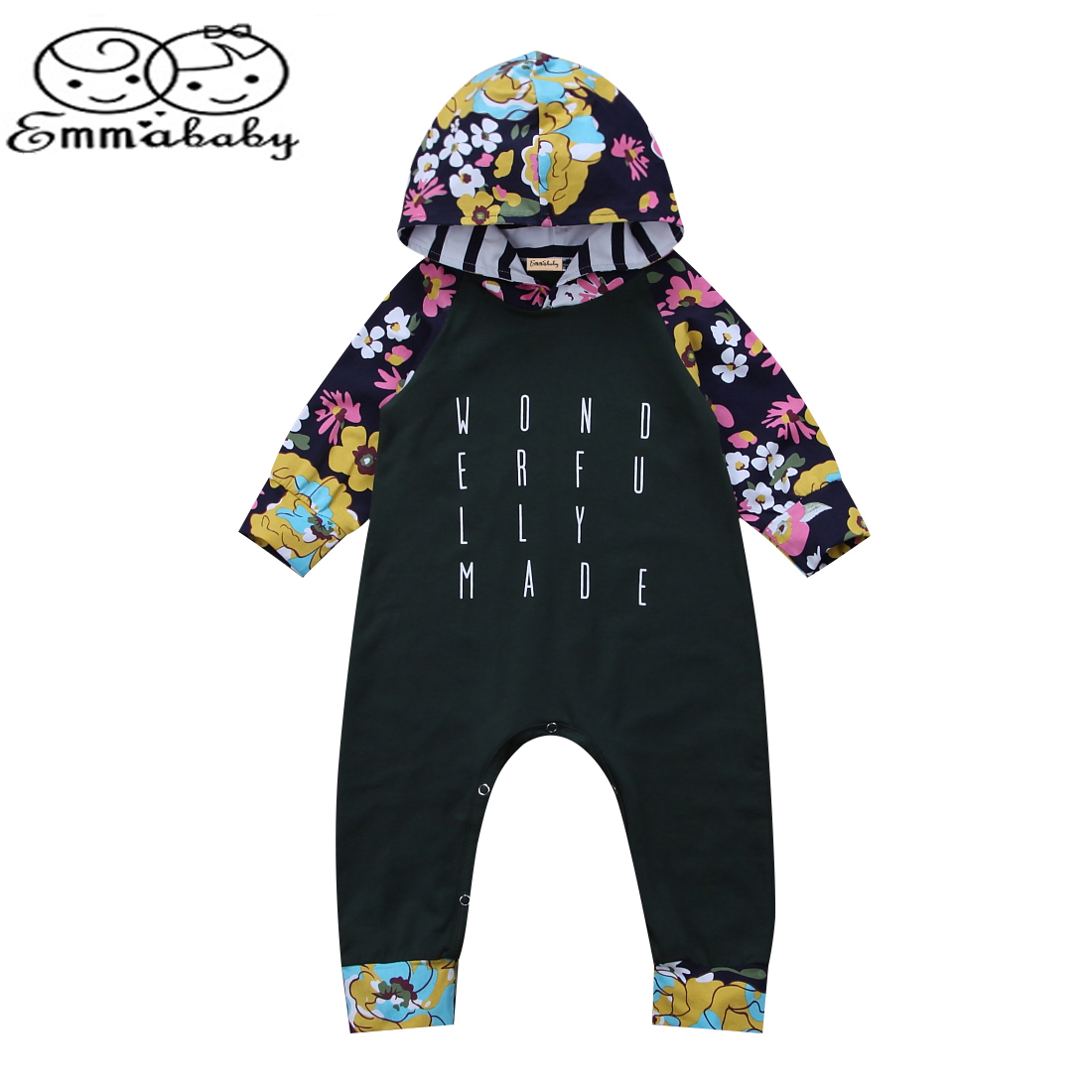 Emmababy Autumn&Winter Kids Clothes Infant Baby Boy Girl Hooded Long Sleeve Romper Jumper Playsuit Outfits Clothes 0-24M