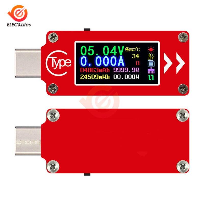 TC64 タイプ C カラー液晶ディスプレイの Usb 電圧計電流計電圧電流計マルチメータバッテリー PD 充電器力銀行 usb テスター -
