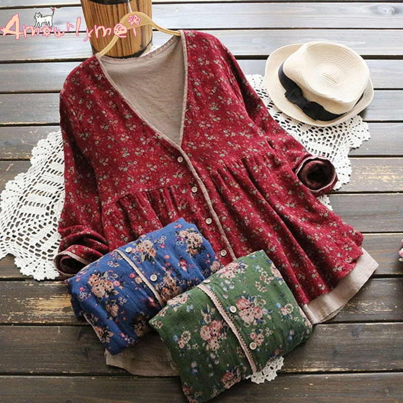 Amourlymei 2018 Autumn New Women Mori Girl Loose V-neck Long Sleeve Vintage Floral Printed Cotton Linen Casual   Blouse     Shirt   Tops