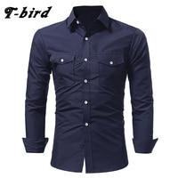 T Bird Shirt Men 2017 Brand Casual Long Sleeves Slim Fit Men S Shirt Camisa Masculina