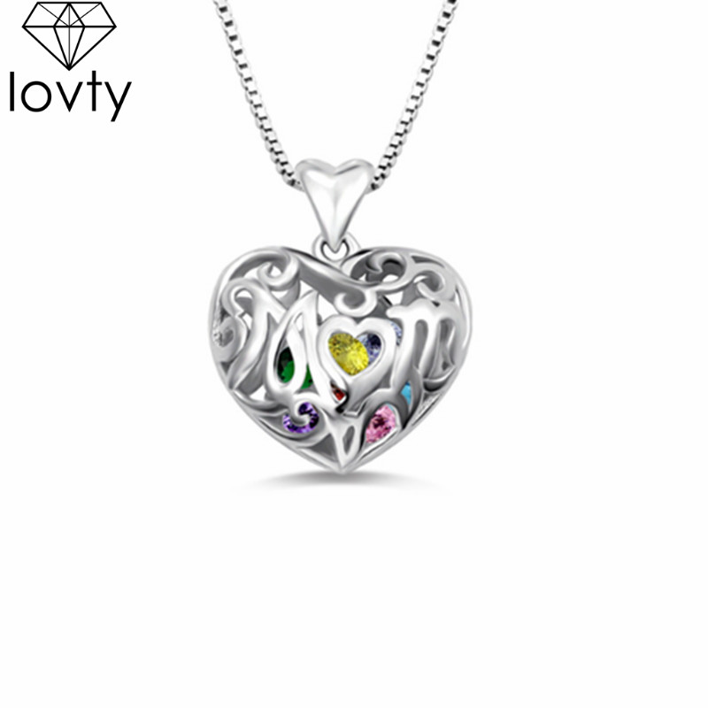lovty Personalized Heart Cage Necklace 925 Silver Engrave Name Women Necklace Pendats With Birthstones Mother's Day Gift Family