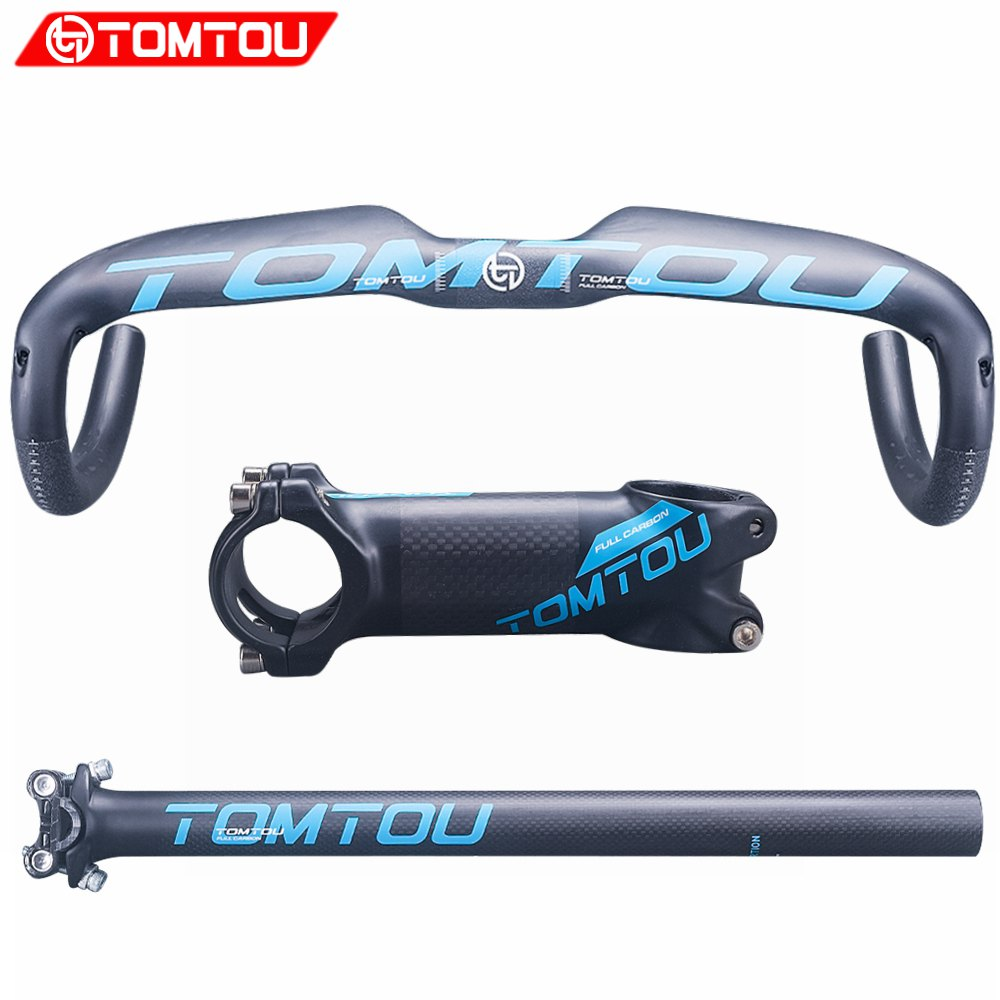 TOMTOU Matte Blue Carbon Fibre Road Handlebar Sets Cycling Bent Bar + Seatpost + Stem Racing Bicycle Parts Set - TC7T35 g house full carbon fibre handlebar road bicycle roadhandlebar bent bar seatpost stem bike parts