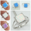 Free Shipping Wholesale Retail Silver Plated Four Claw Inlay White Pink Blue Fire Opal Rings Size 6 7 8 9