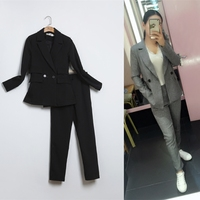 New Ms's fashion casual suits sets / Female business casual solid color double button suit jacket blazers sets+pants trousers TT