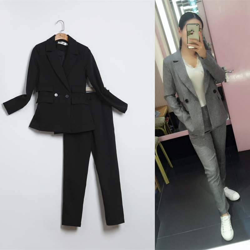 New Mss fashion casual suits sets / Female business casual solid color double button suit jacket blazers sets+pants trousers TT