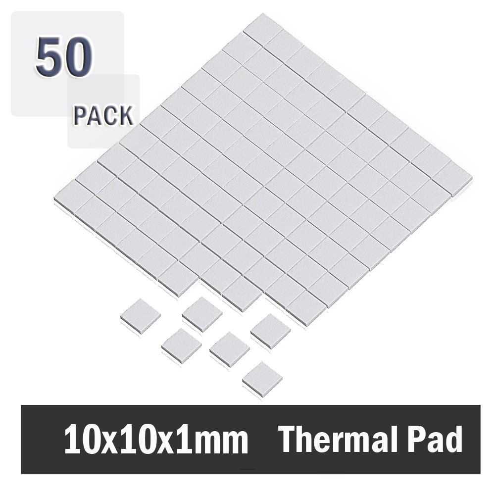 50pcs 10mm*10mm*1mm White Laptop Computer Thermal Pad <font><b>GPU</b></font> CPU Heatsink Cooling Conductive Silicone Pad image
