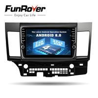 Funrover 9Android 8.0 2 din Car radio stereo video player for MITSUBISHI LANCER 2007 17 GPS Audio Navi multimedia WIFI RDS usb