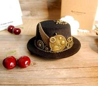 Unique Stunning Black Steampunk Mini Top Hat Gears Wing Chain Accessories Party Hats Handmade Hair Accessories
