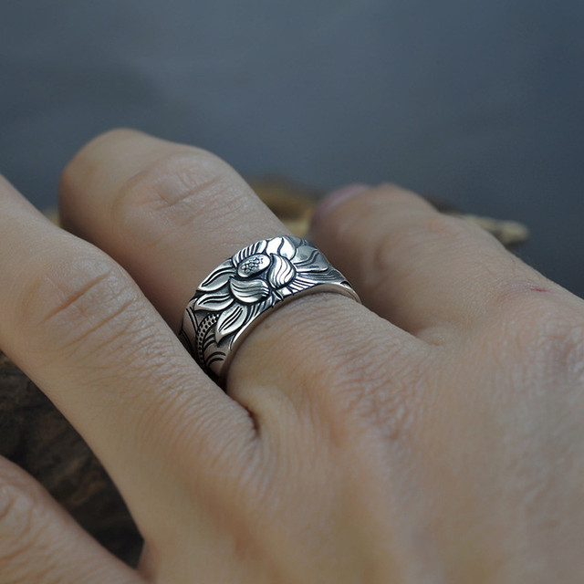 V.YA 100% Real 999 Pure Silver Jewelry Lotus Flower Open Ring 5