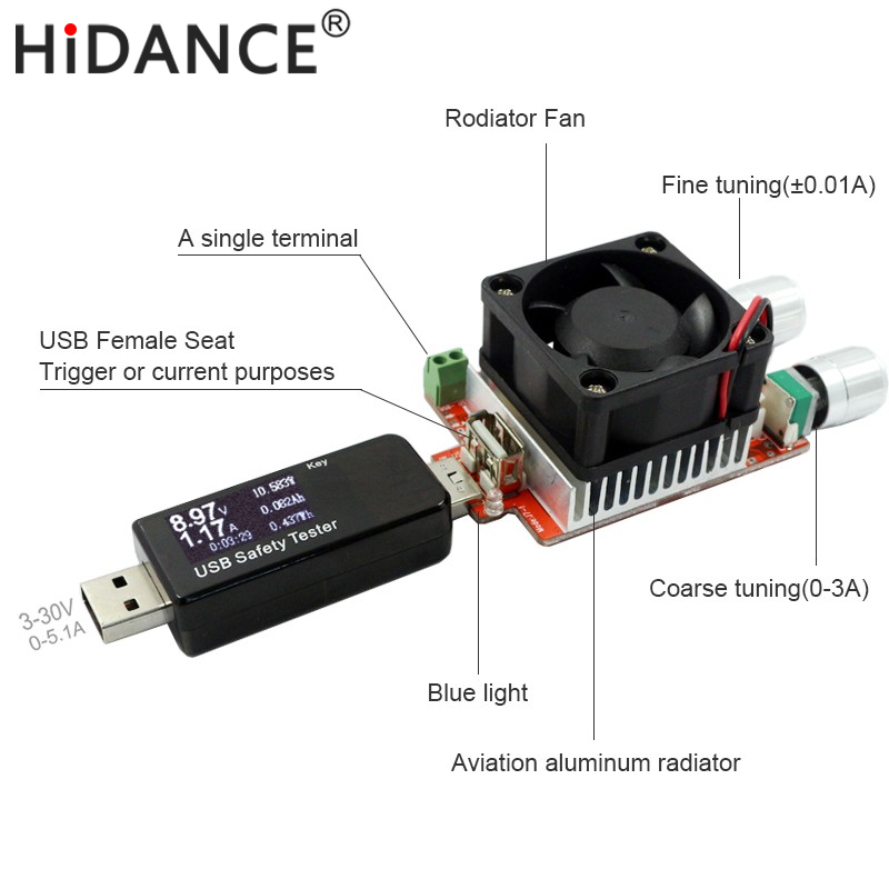 35W constant current double adjustable electronic load + USB tester for charger power bank current dc voltage capacity aging qc2 0 3 0 mtk pe trigger ebd usb dc electronic load battery voltage current capacity tester t22