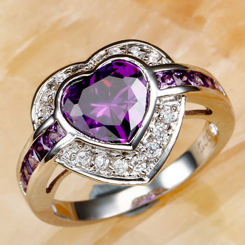 lingmei New Arrival Luxury Popular Heart Purple & White CZ Silver Color Charm Wo