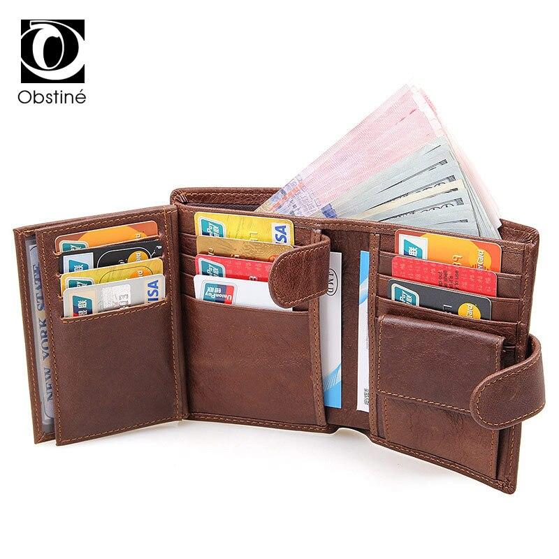 Echtem Leder Brieftasche Männlichen RFID Blocking Geldbörsen Mann Luxus Dünne Kleine Geld Tasche Geldbörsen für Münzen Karte Halter Herren Geldbeutel