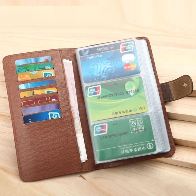 High Quality Long Business Credit Card Holder Bags PU Leather Bank Card Bag ID Holders Business Card Wallets ACH225A