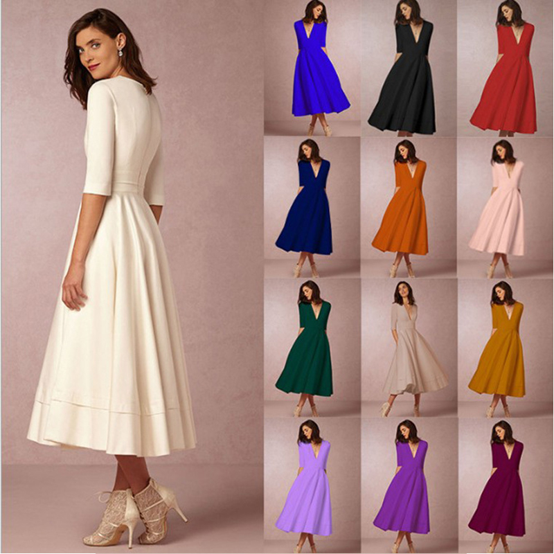 Vintage Spring Winter Dress Women 2019 Casual Plus Size Elegant Ball Gown  Party Dresses Female Sexy V Neck Long White Dress 3XL