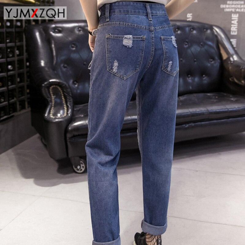 Mujer Más Jeans Vaqueros de Ripped Grandes Jeans Pantalones la Mom Flacos  2017 Para Tamaño de ... ae1f1c85311d3