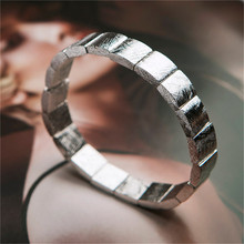 Genuine Natural Gibeon Iron Meteorite Silver Plated Rectangle Beads Women Man Bracelet