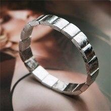 Pulsera de hombre y mujer con cuentas rectangulares plateadas de meteorito de hierro Natural genuino Gibeon