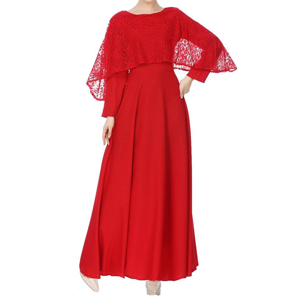 KLV 2019 Abaya Dubai Women's Long Sleeve Muslim Lace Pilgrimage Dress Ramadan Kaftan Islam Kimono Women Turkish Eid Mubarak