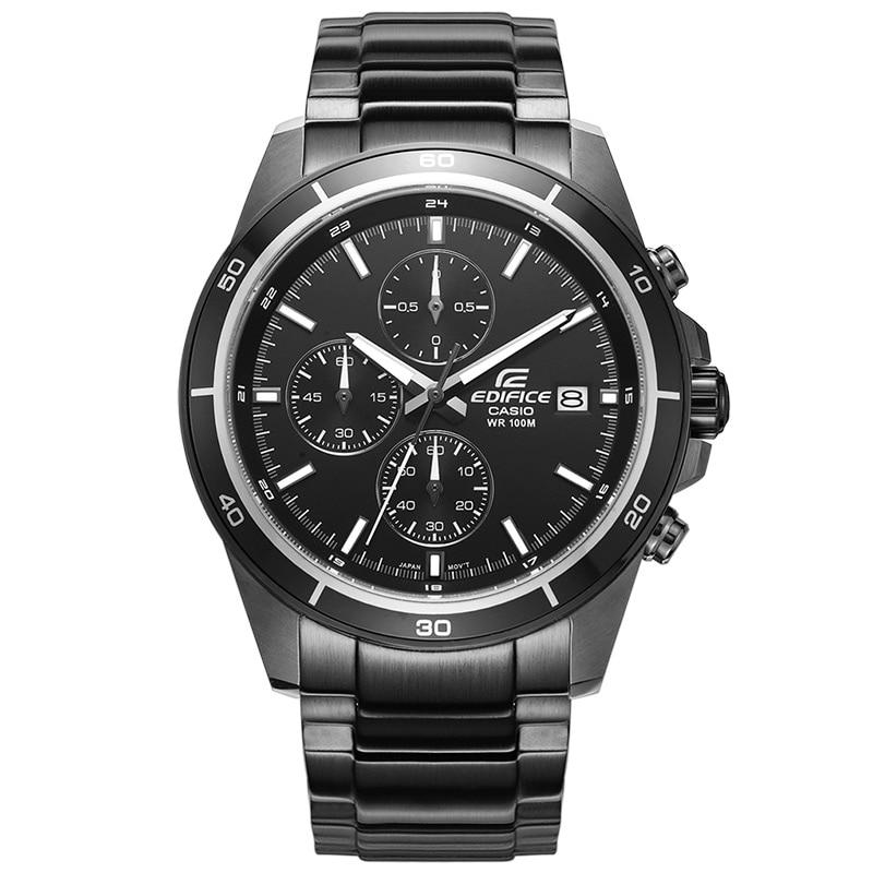 Montre casio ÉDIFICE série 2018 nouvelle mode sport 10BAR étanche quartz en acier ceinture hommes de montre en acier noir ceinture EFR-526BK