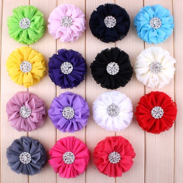 "(120pcs/lot)2.8"" 15 Colors Fluffy Ruffled Flower For Hair Clips Chic Chiffon Metal Alloy Button Flower Accessories For Kids"