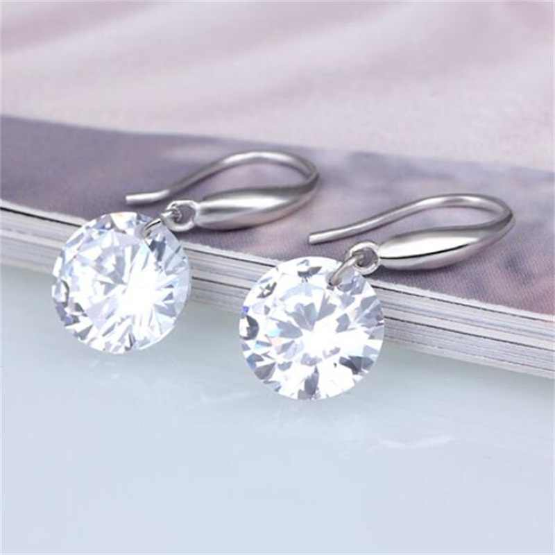 Fashion Silver color Earring For Women Crystal AAA Cubic Zirconia Drop Earrings Stone Pendientes Mujer Moda
