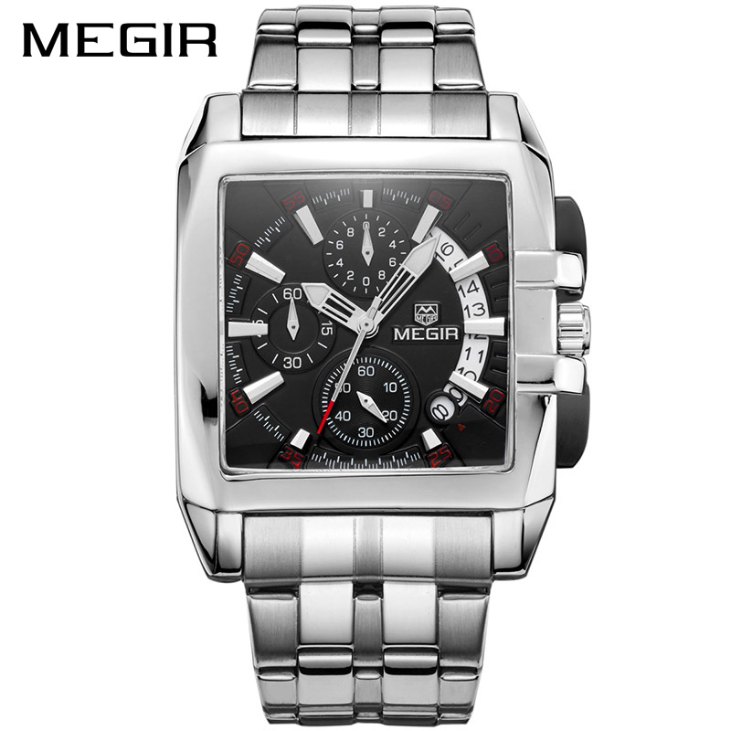 MEGIR 2017 New Luxury Men Watch Full Steel Band Date Mens Quartz Watches Business Big Dial Watch Relogio Masculino MS2018G