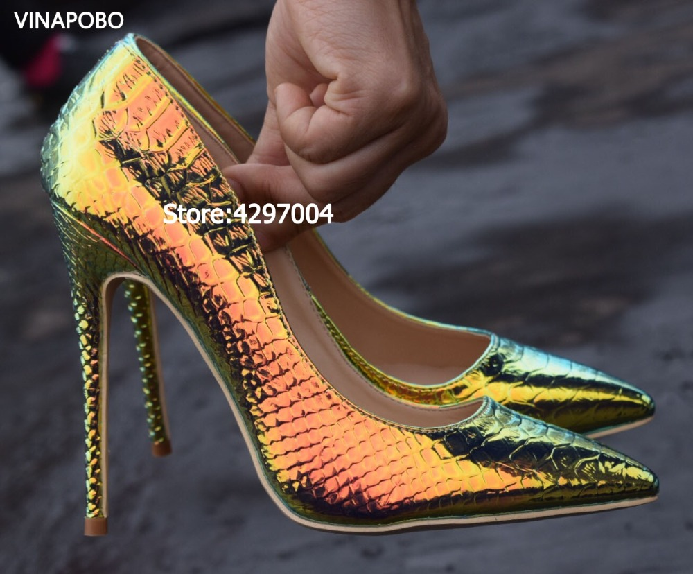 green Women Pumps Snake Shoes Woman Pointed Toe High Heels Shoes Luxury Designer Wedding Bridal Party