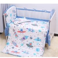 7 pcs/set Spacecraft Baby Bedding Set Cotton Crib Sets Toddler Soft Crib Bedding Set Cot Bumpers Bed Sheet Pillowcase For Infant