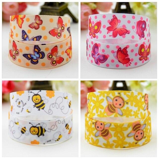 """Cinta de abeja de mariposa Kawaii de 7/8 """"para cintas de decoración de regalo con cinta de grogrén impresa"""
