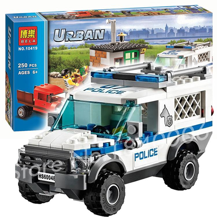 250pcs BELA 2016 New 10419 City Police Dog Unit sets building Blocks crook vehicle hideout  periscope Toys Compatible with Lego lepin 02012 city deepwater exploration vessel 60095 building blocks policeman toys children compatible with lego gift kid sets