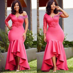Image 1 - African Mermaid Bridesmaid Dresses Long 2020 Single Long Sleeves Pink Wedding Guest Maid Of Honor Dress Party For Women