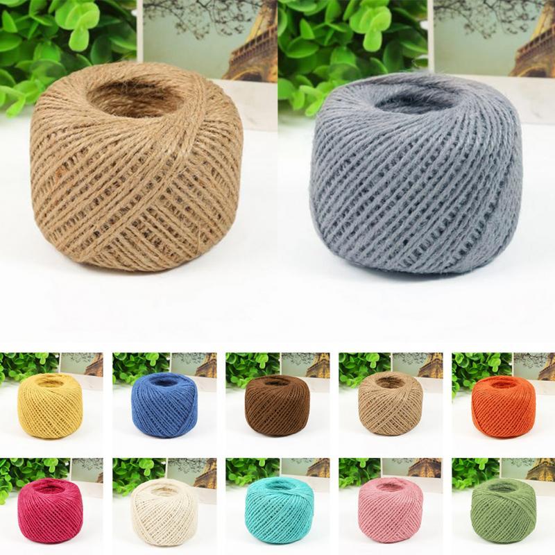 50m Colorful Hemp Rope Jute Twine Rustic String Cord Linen Thread Roll DIY Craft