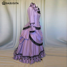 Brand New Purple Taffeta Victorian Dresses French Bustle Period Ball Gowns Reenactment Halloween Costumes