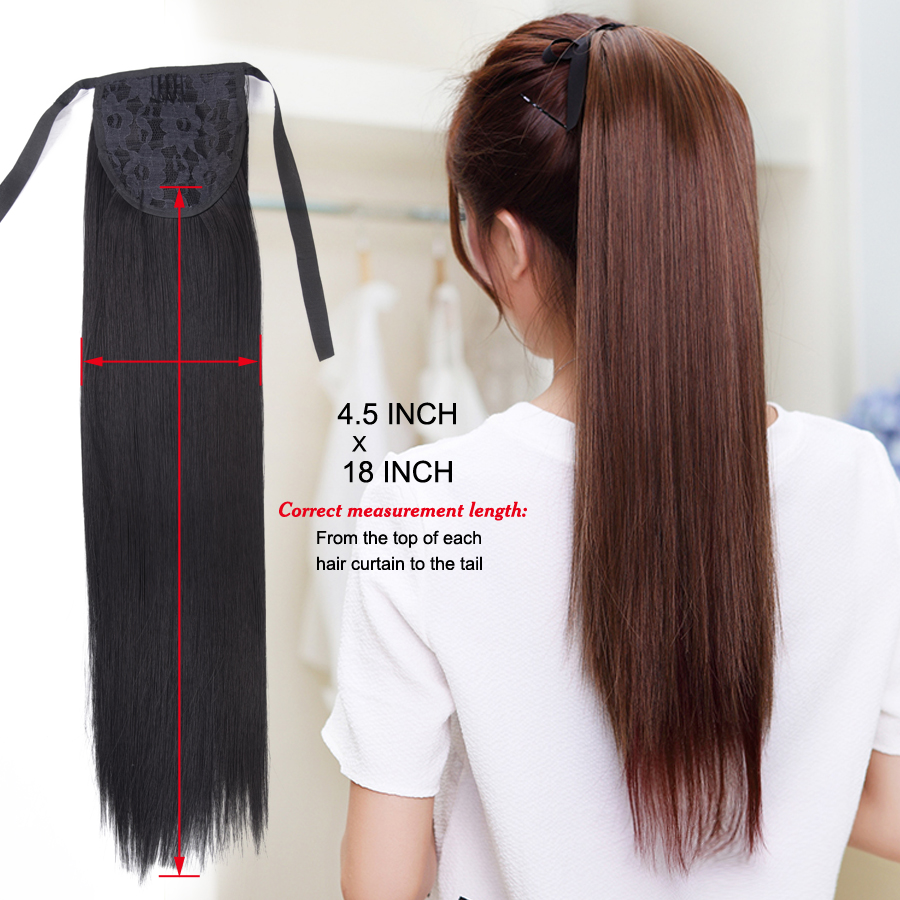 Leeons 20Synthetic Ponytail Hair pieces Heat Resistant Synthetic Hair Fiber Straight Ribbon Ponytail Hair Extension 21colors