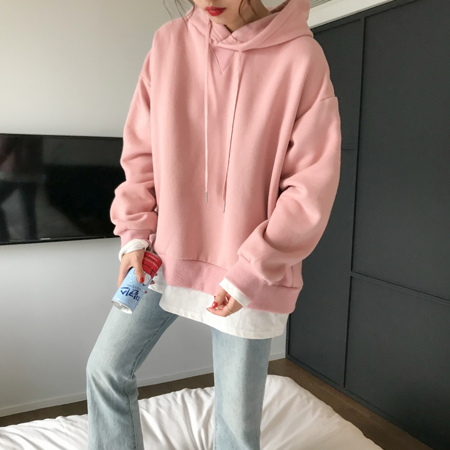 autumn 2019 winter clothes women sweatshirt harajuku korean style fashion  yellow hoodies personality stitching pink hoodie 04eac0ad6