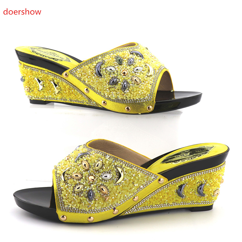 doershow Italian Ladies Low Heels Pumps Colorful Rhinestones Design Ladies Pumps African Sandal Shoes for Party KGB1-14 doershow african shoes and bags fashion italian matching shoes and bag set nigerian high heels for wedding dress puw1 19