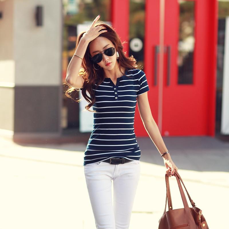 Summer Women's 2019V Collar Shirt Short-Sleeved Casual T-Shirt White Striped T-Shirt Cotton T-Shirt Women's Clothing -86
