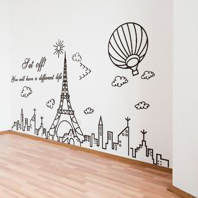 Eiffel Tower Wall Decor aliexpress : buy [shijuehezi] black color eiffel tower wall