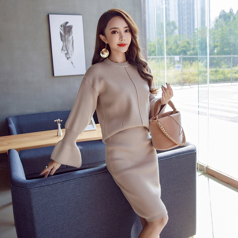 New Winter 2 Piece Set Knitted Sweater Skirt Suits Elastic Waist Package hip Skirts Tracksuit Warm Pullovers Femme Outfits Mujer