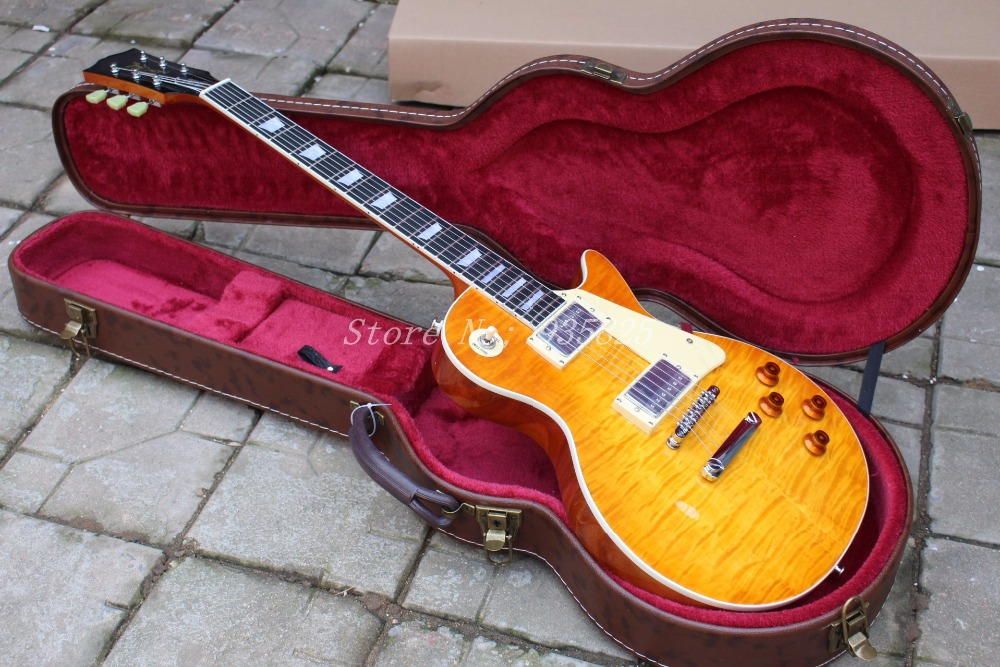 in Stock 1959 R9 honey Burst Les Chinese Paul LP Style Standard Electric Guitar with EMS Free Shipping in stock chibson yellow burst les chinese paul lp style standard electric guitar with ebony fingerboard free shipping