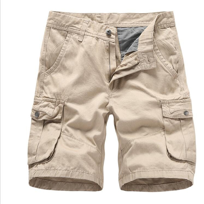 Casual Shorts Cargo Shorts Men Summer Fashion Solid Cotton Army/khaki Military Tactical Homme Shorts Casual Multi-pocket Male Baggy Trousers