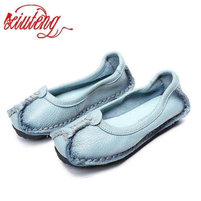 Xiuteng 2018 Mulheres Sapatos de Couro Genuíno Sapatos Mocassins Mulheres Cores Misturadas sapatos Casuais Handmade Macio E Confortável Mulheres Flats