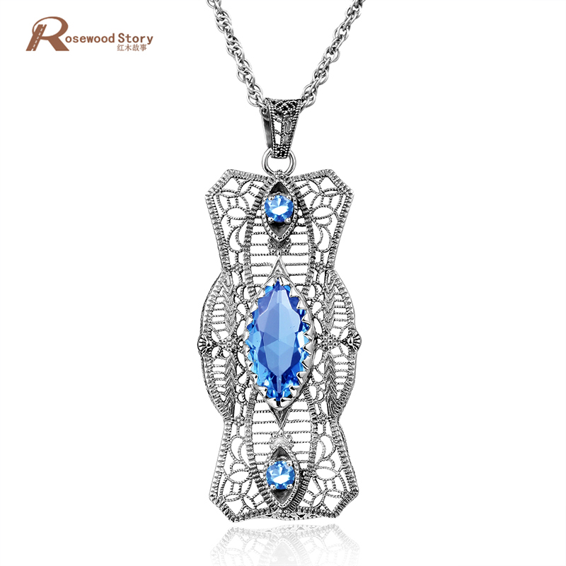 Elegent Fashion 925 Sterling Sliver Hollow Out Sky Blue CZ Rhinestone Crystal Retro Charms Pendants For Women Necklace No Chain