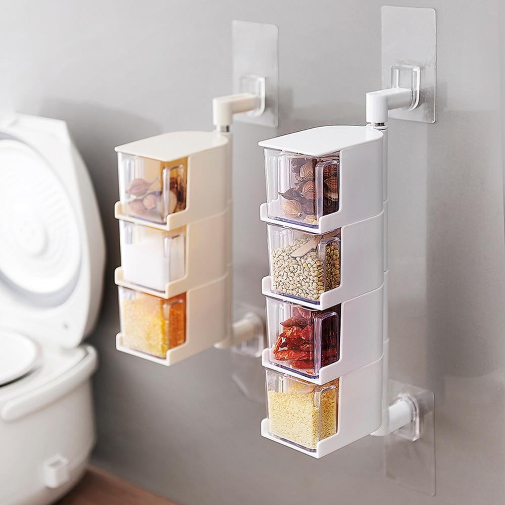A1 Kitchen Utensils Shelf Box No Hole Wall Hanging Rotating Salt Release MSG Creative Seasoning Jar Wx7031151